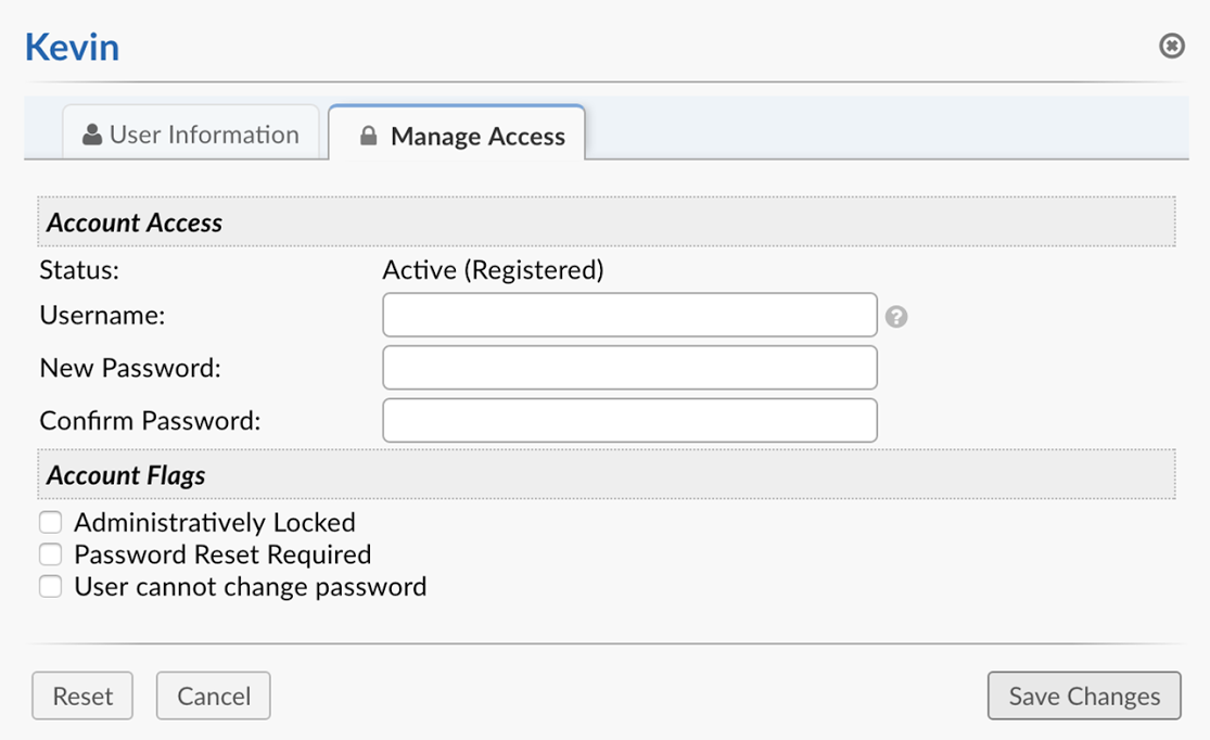 Manage Access Tab