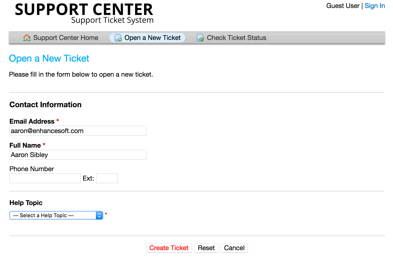 Open New Ticket Page